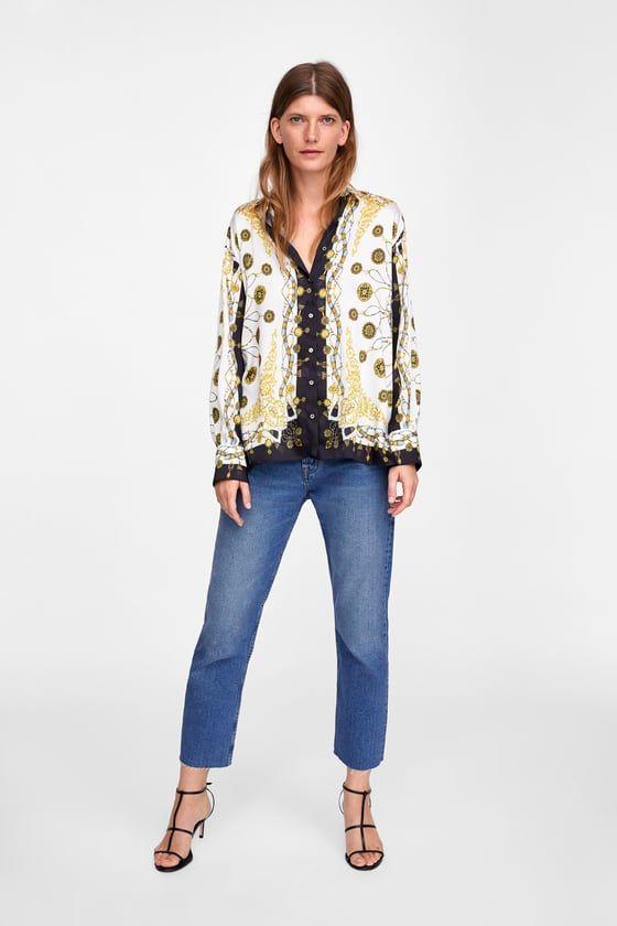 2a194695 BLUSA ESTAMPADO CADENAS in 2019 | Outfit | Printed blouse, Blouse ...