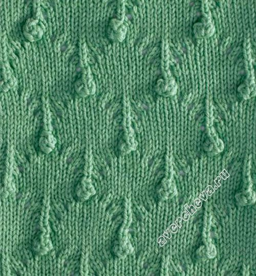 Stitch which looks like drops of rain. Charted, Russian website. Knitting s...
