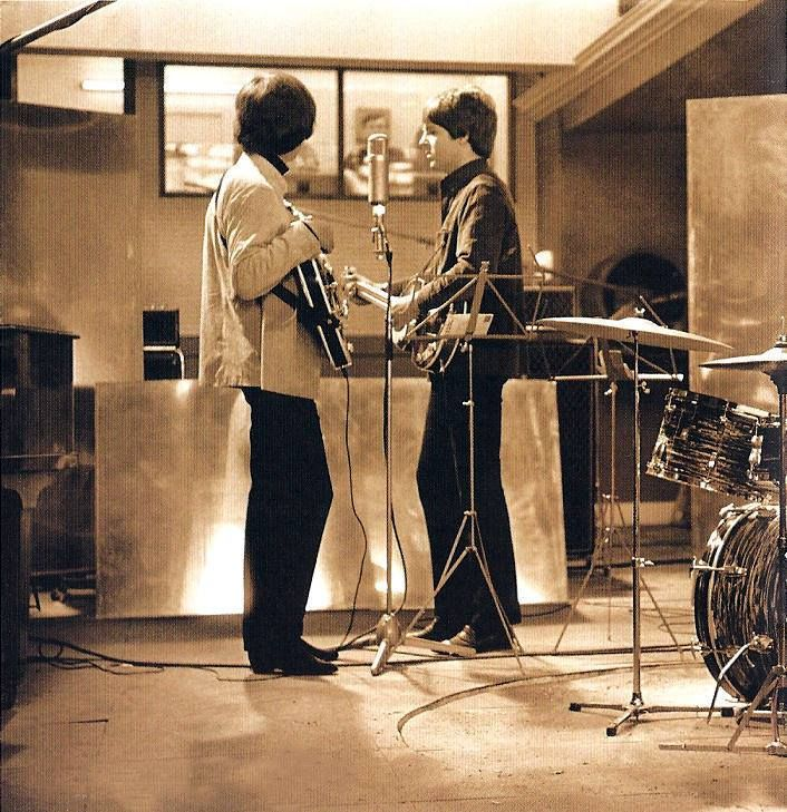 George and Paul during the filming of Help!, 1965