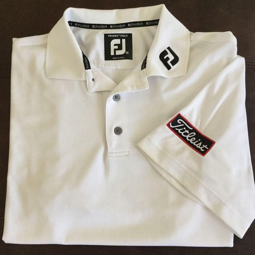 Footjoy fj titleist tour series golf shirt m white prodry for Footjoy shirts with titleist logo