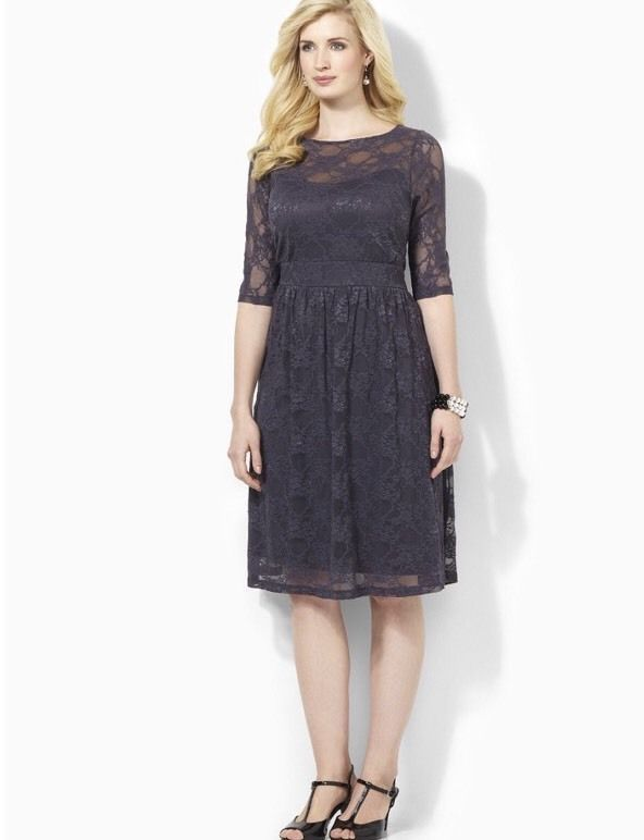 Catherines Sweetheart Lace Dress Grey Plus Size 0x 1416w