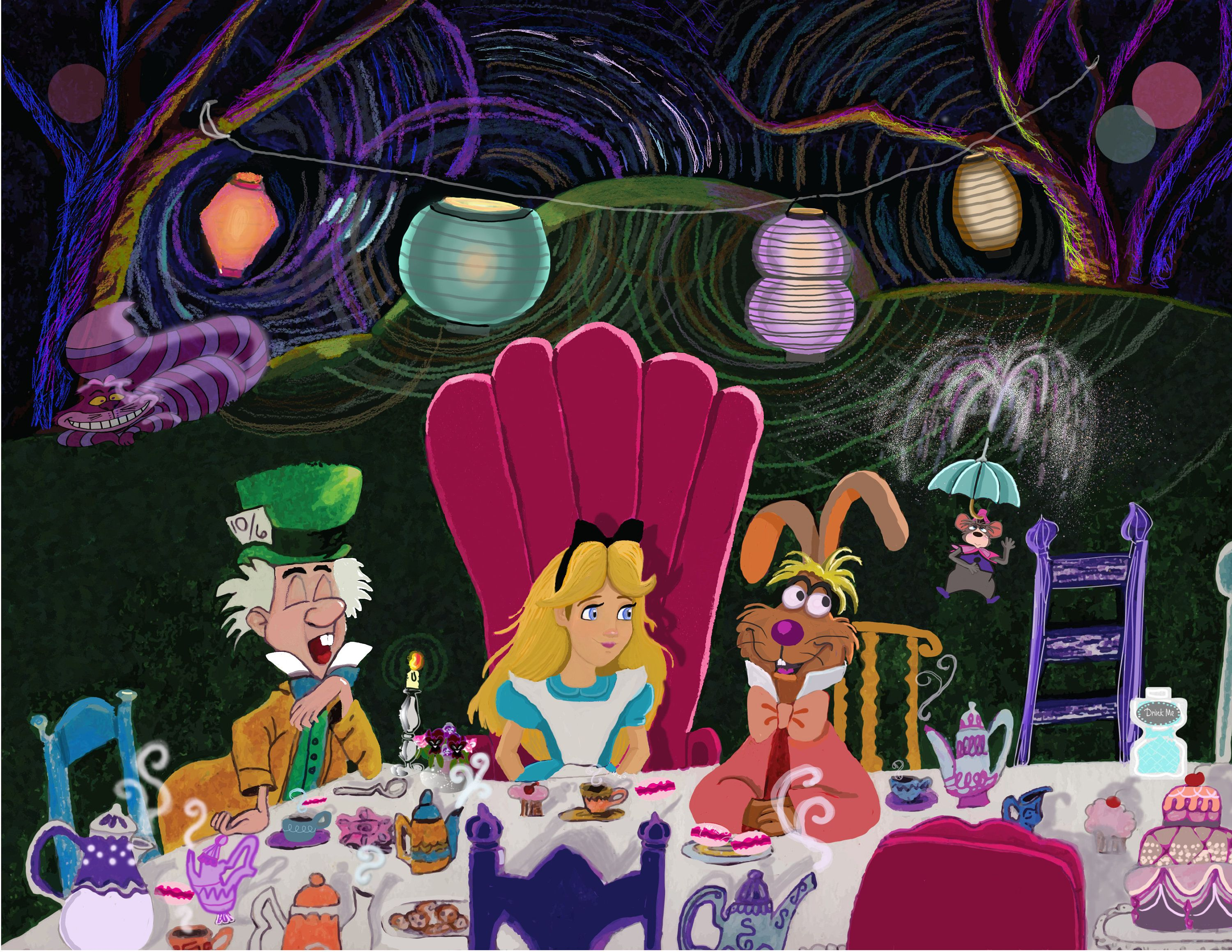 Alice In Wonderland Tea Party Drawing Mad Hatter Tea Cups Fine Art