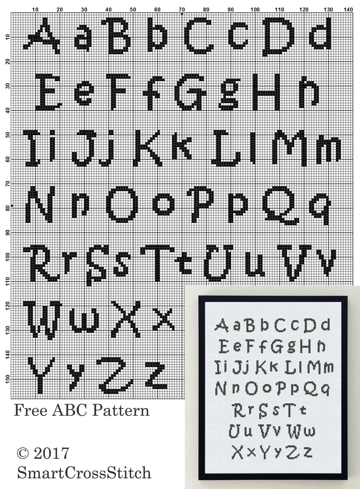 Free Cross Stitch Alphabet Patterns : cross, stitch, alphabet, patterns, Cross, Stitch, Alphabet, Pattern, ''ABC'', Embroidery, Design, Letter, Patterns,, Fonts