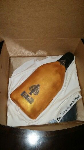 Ace of Spades champagne bottle cake