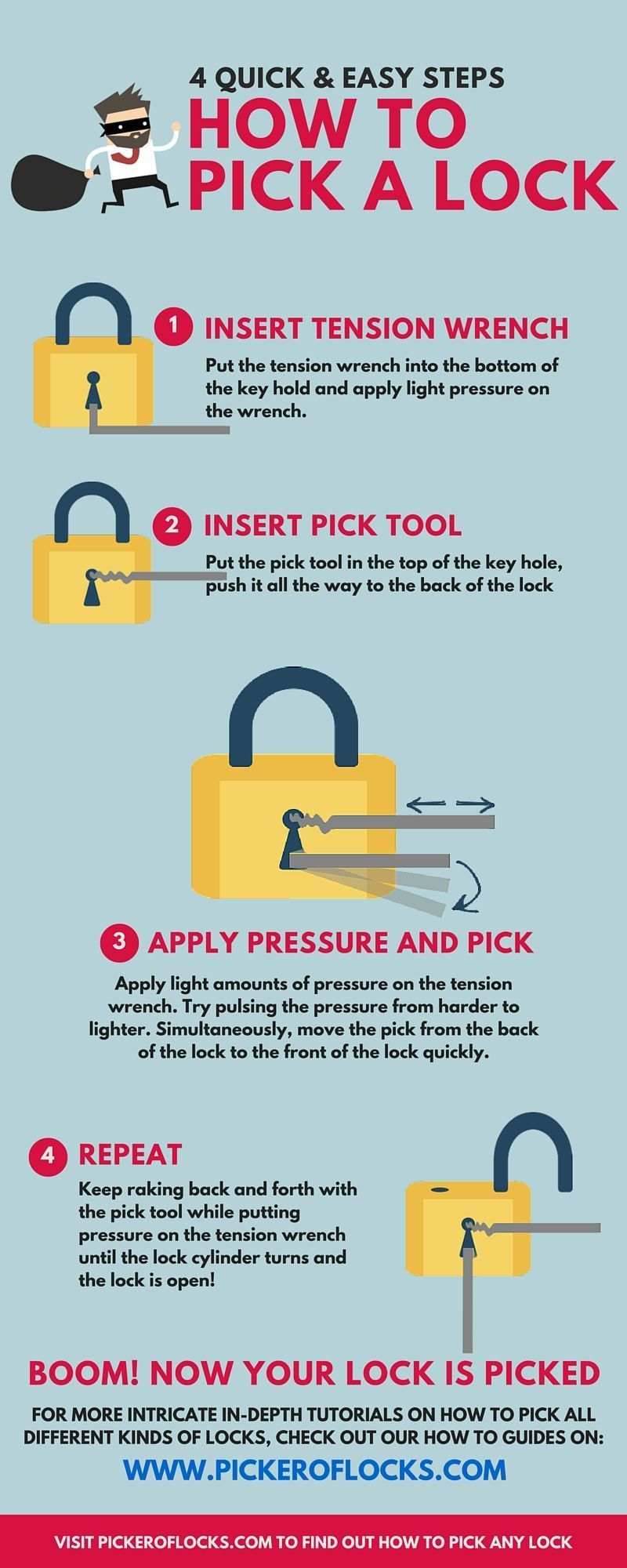 Infographic 4 Quick & Easy Ways to Pick a Lock in 2020