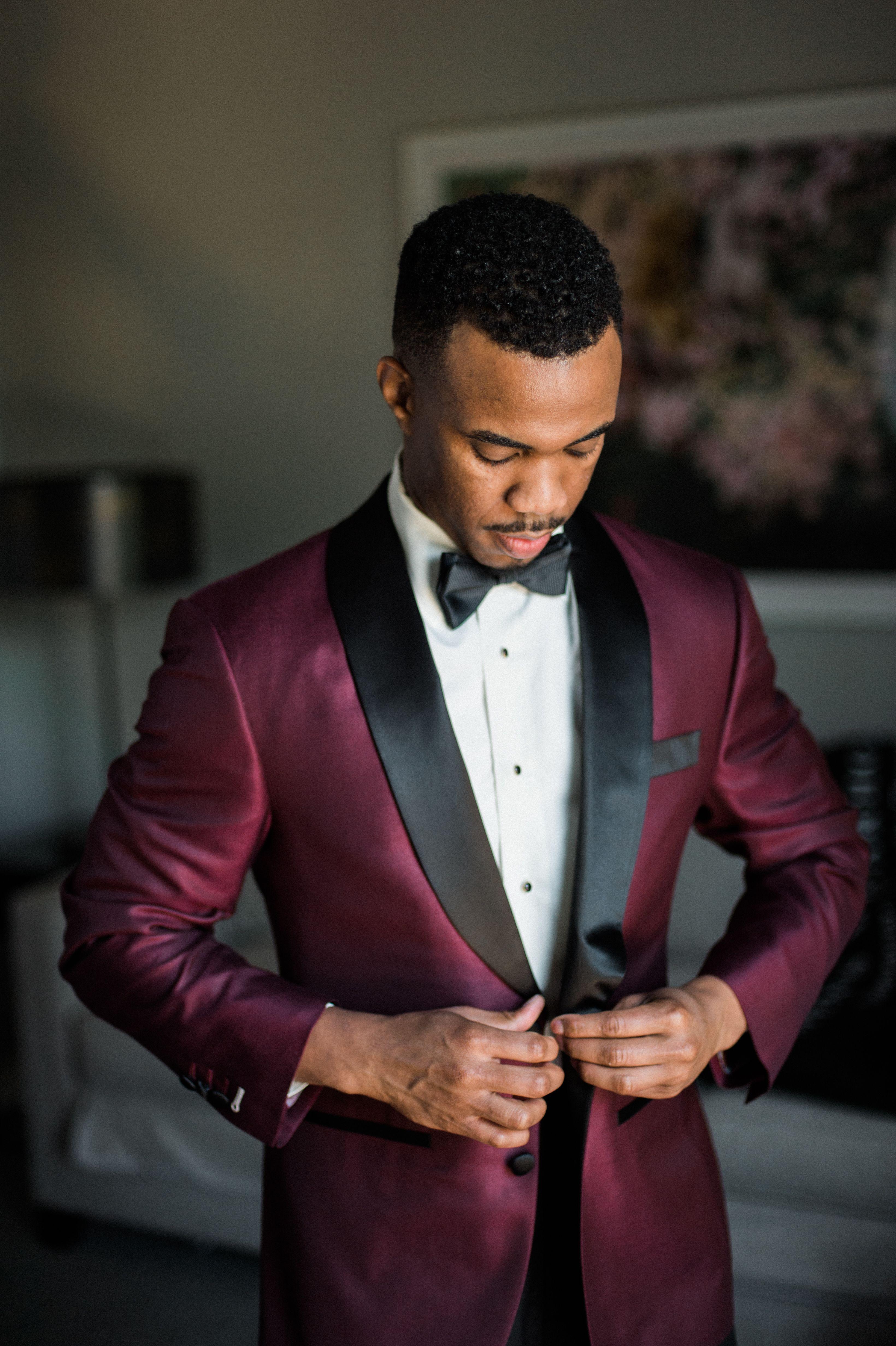 Burgundy tuxedo jacket groom attire burgundy tuxedo