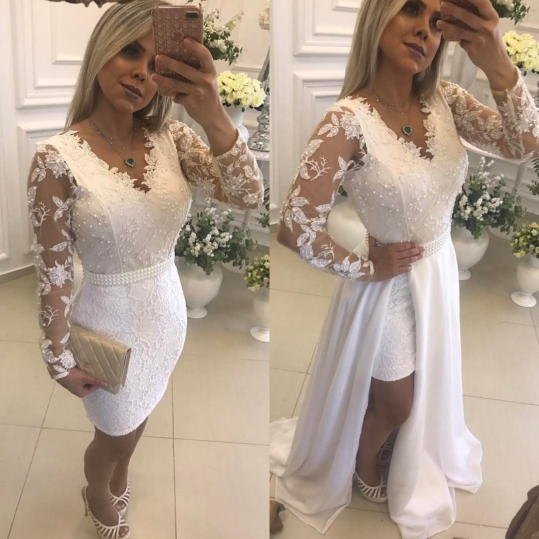 Chic White Beading Prom Dresses With Detachable Skirt Sheer Long Sleeves Evening Gowns From Mychicdress Long Sleeve Evening Gowns Short Wedding Dress Prom Dresses [ 1080 x 1080 Pixel ]