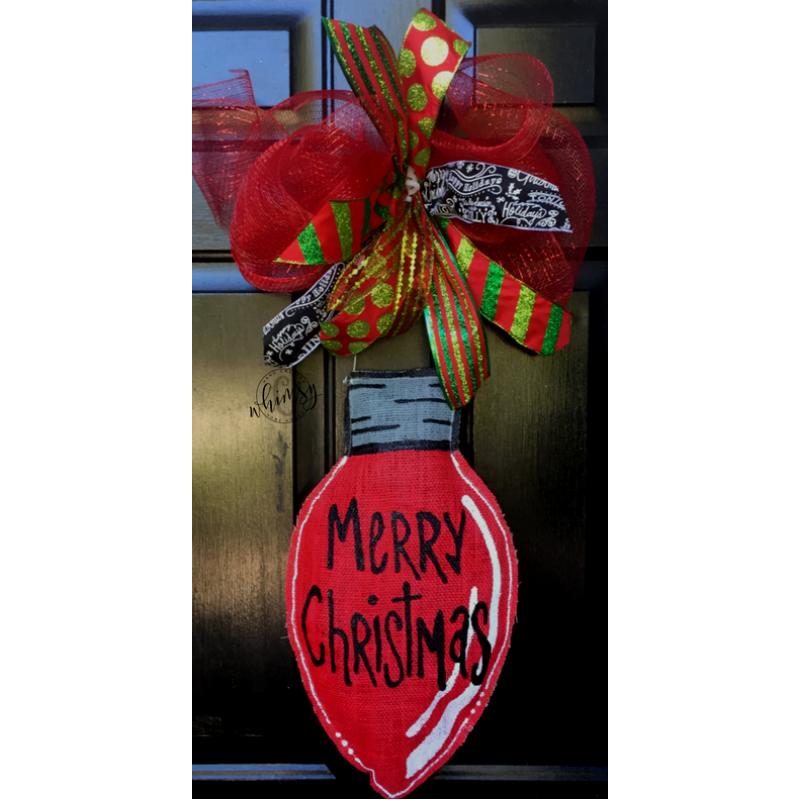 Red Lightbulb Door Hanger Christmas Door Hanger Burlap Door Decorations Door Hangers Diy