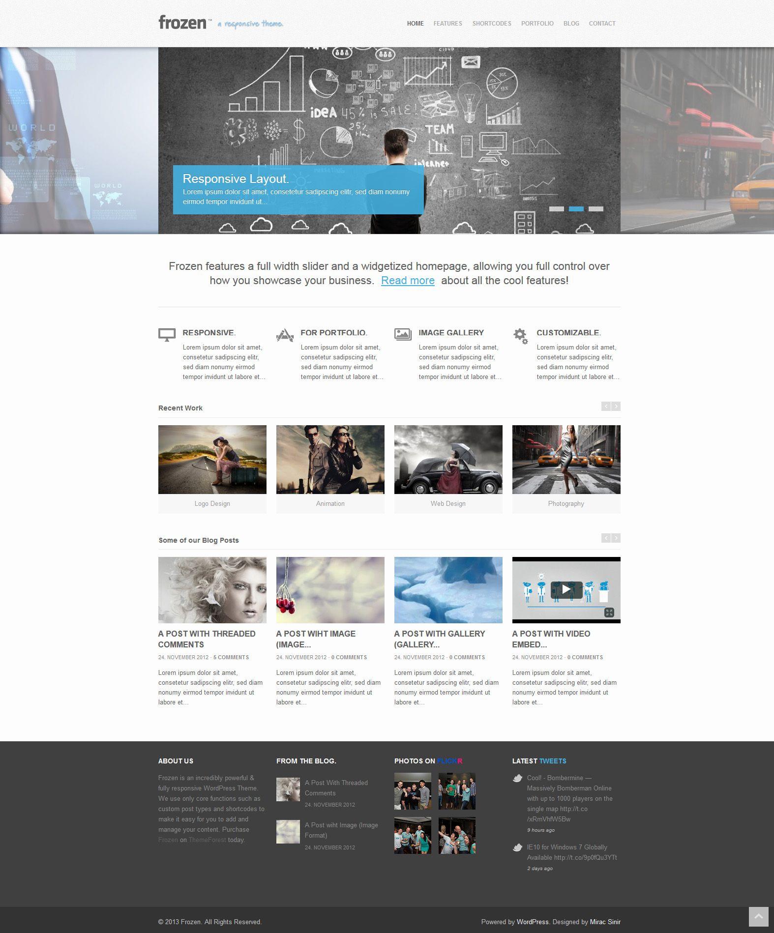 Frozen Responsive Corporate Wordpress Template Themeforest Http Dem Best Website Templates Wordpress Website Design Website Templates Wordpress