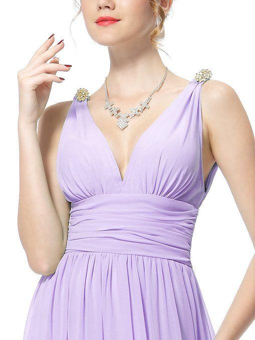 Ever Pretty Elegant V-neck Long Chiffon Crystal Maxi ...