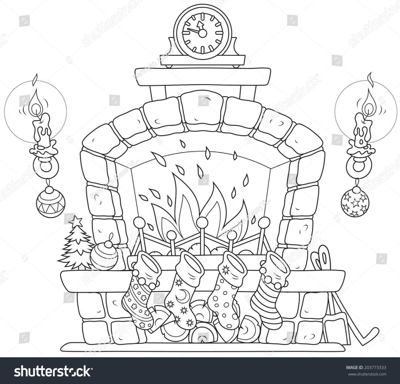 Christmas Fireplace Burning Fire Candles Clock Wektorowa Ilustracja Stockowa Bez Tantiem 203773333 Em 2020 Desenhos