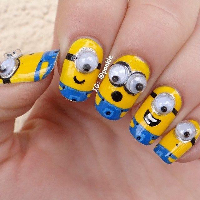 Atractivas uñas decoradas con personajes minions | Minions, Uña ...