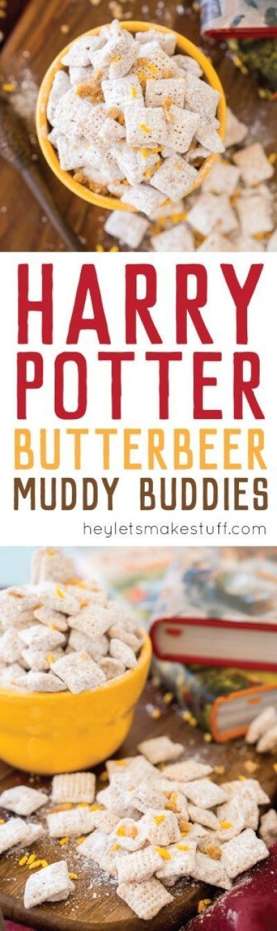Harry Potter Butterbeer Muddy Buddies #butterbierrezept These sweet and buttery butterbeer muddy buddies are the perfect treat for Harry Potter parties and Fantastical Beast fetes. Grab your wand and conjure up this delectable dessert today! #butterbierrezept