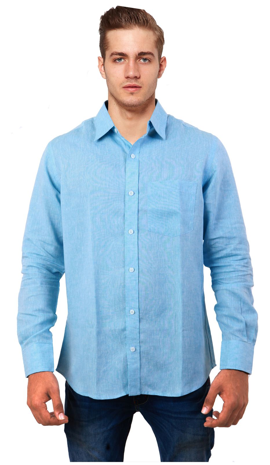 C O B R I O Pure Linen Shirt Finely Crafted 100 Pure Linen Shirt With Single Chest Pocket Front Placket Cur Light Blue Shirts Workout Shirts Casual Shirts