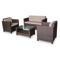 Salon De Jardin En Resine Tressee Chocolat Coussins Marron 4 Places Meuble Mobilier De Salon
