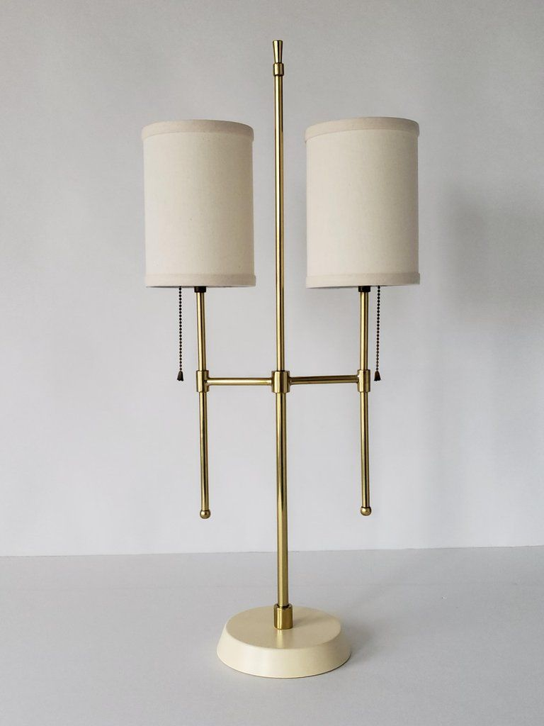 1950s Paul Mc Cobb Attributed Twin Shade Brass Table Lamp Usa In 2020 Brass Table Lamps Table Lamp Lamp