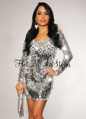 Silver Mirrored Sequined Rhinestones Embellished Dress | Embellished ...