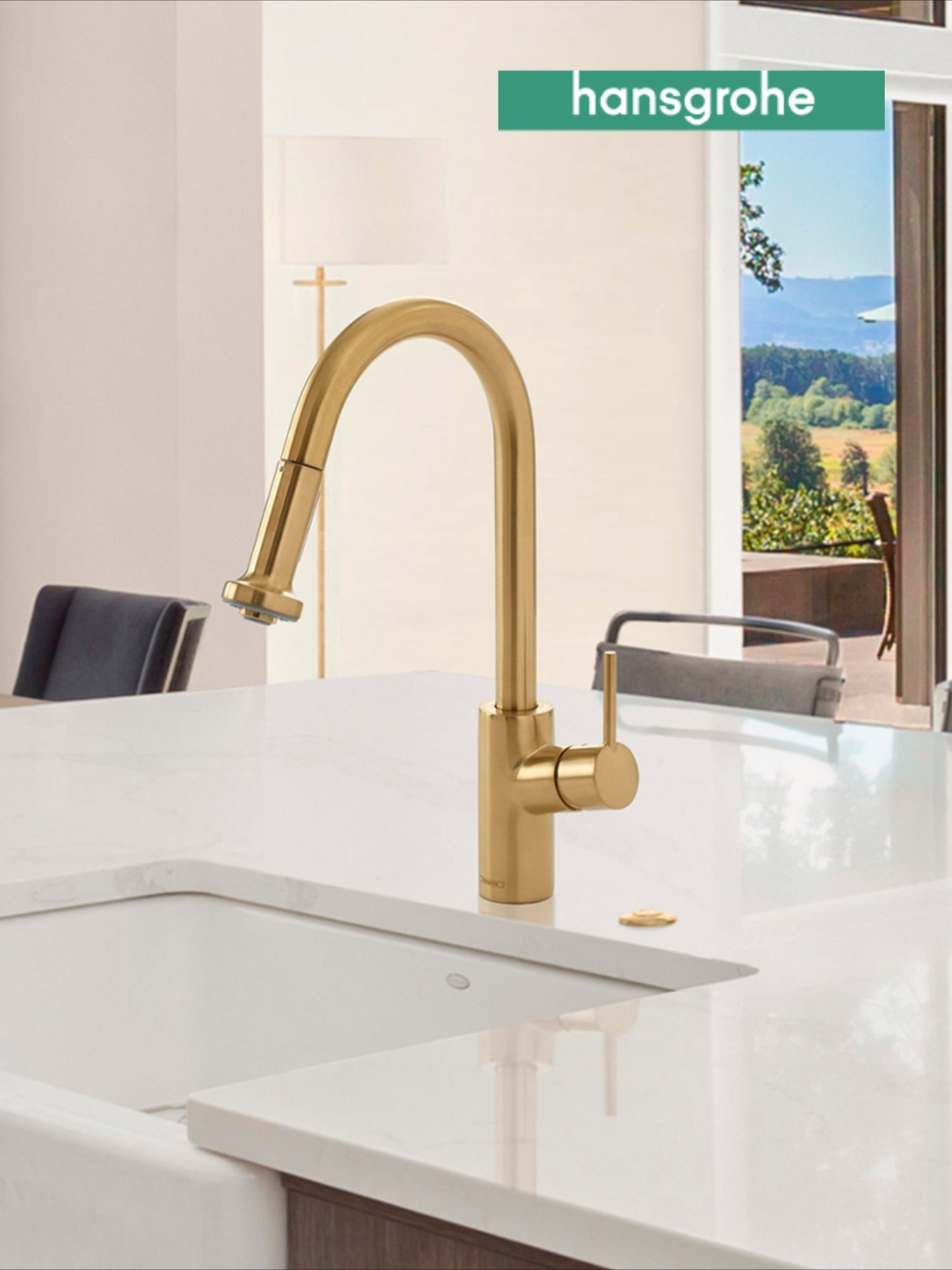 Talis S In Brushed Gold Kitchen Faucet By Hansgrohe In 2021 Kitchen Faucet Gold Kitchen Faucet Faucet