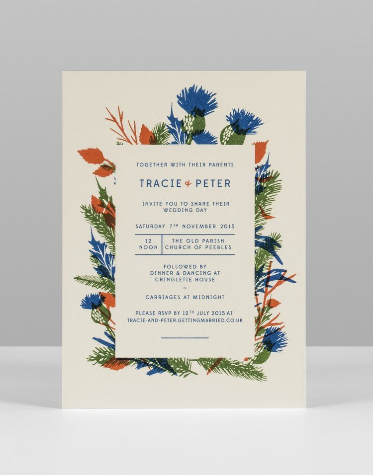 Tracie and Pete thistle illustration screenprinted wedding ...