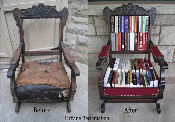 Before & After of an Antique Rocker turned Book Storage