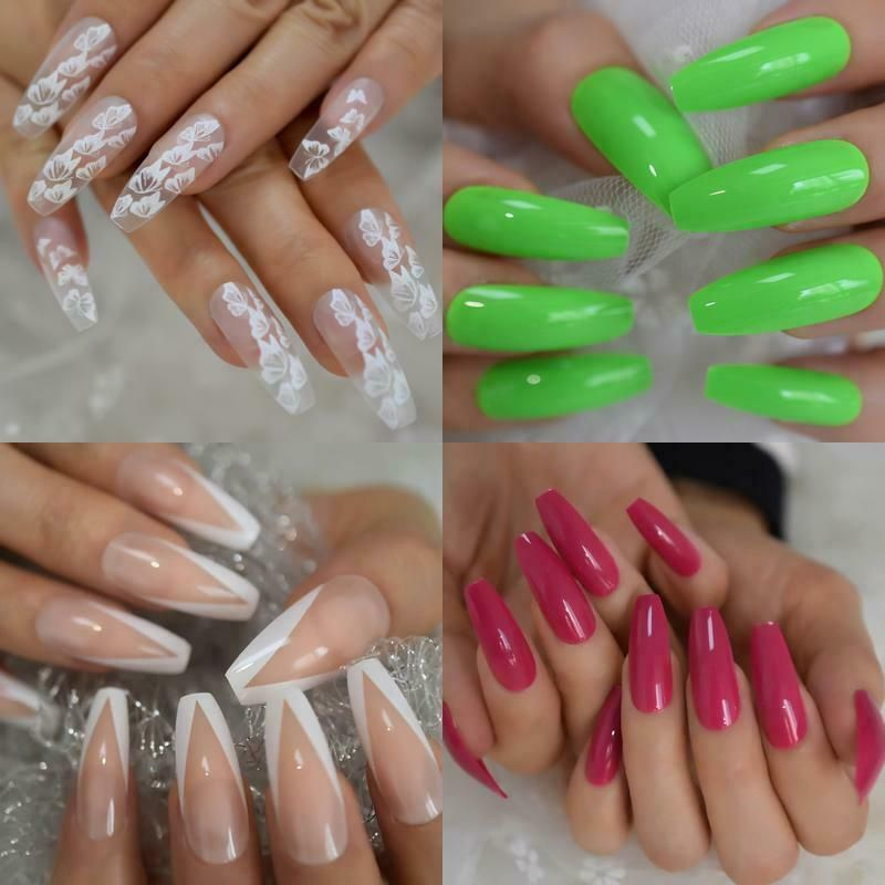 New Butterfly French Neon Press On False Nails Extra Long Coffin Ballerina 24pc Echiq Customdesigned In 2020 False Nails Nails Glue On Nails