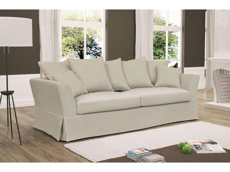 Canapé fixe 3 places HARRIET coloris beige Vente de Canapé droit