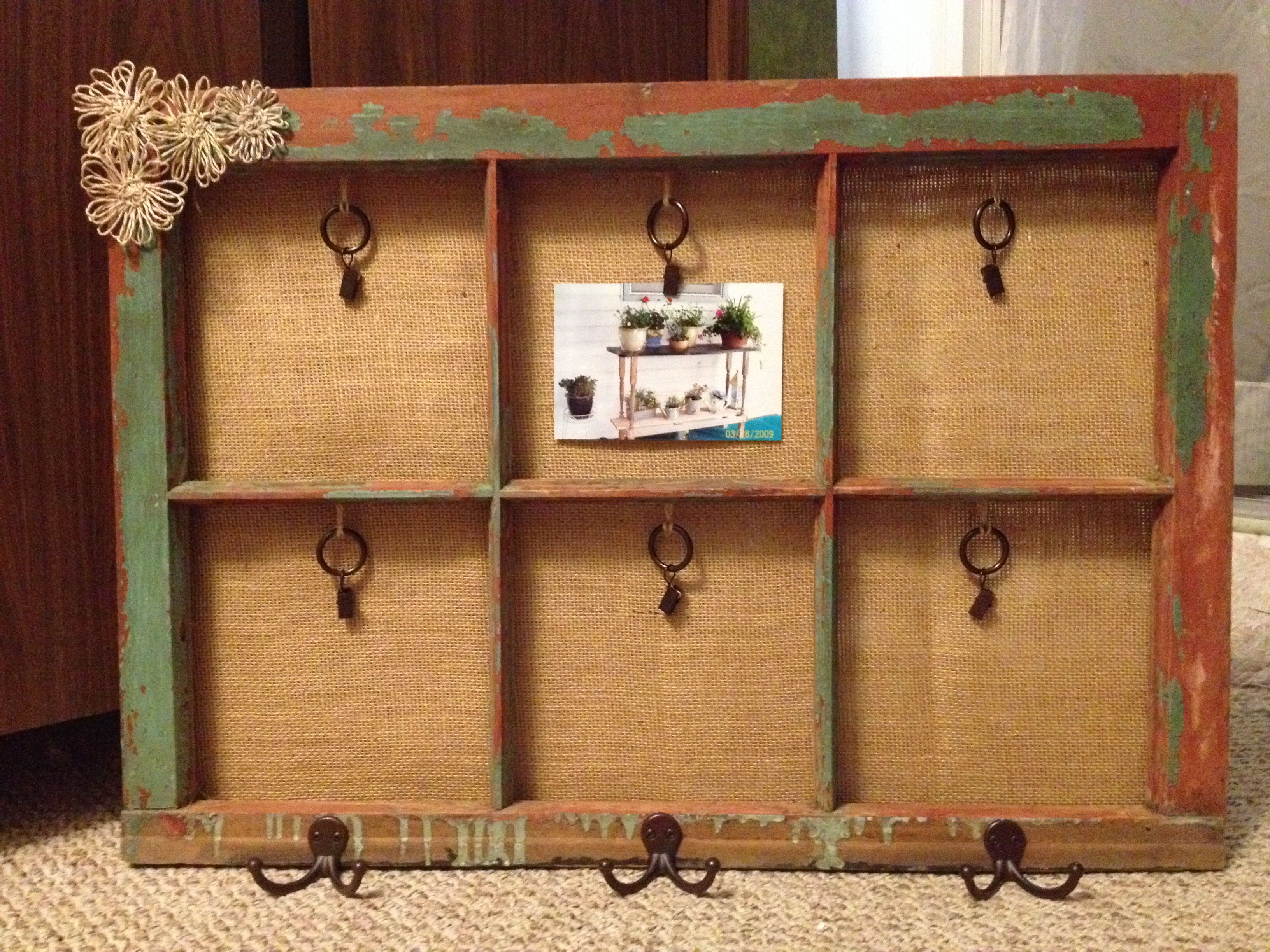 Old Window Frame Recycled Into A Photo Picture Frame With Coat