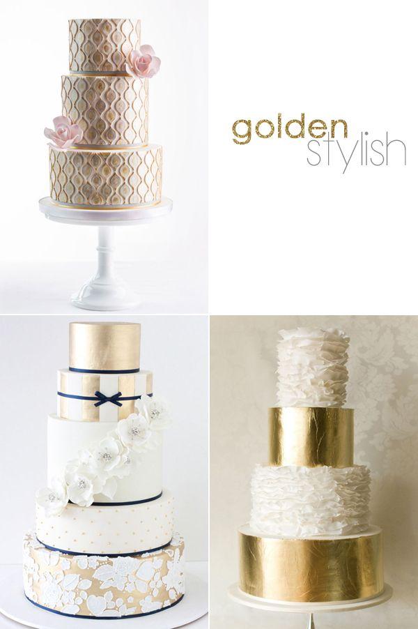 goldene kreative Hochzeitstorten