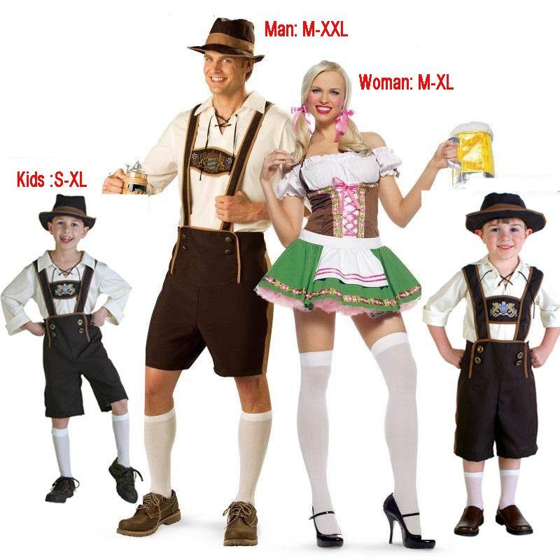 Mens Ladies Oktoberfest Costume Bavarian Beer Wench Lederhosen Couples Outfit