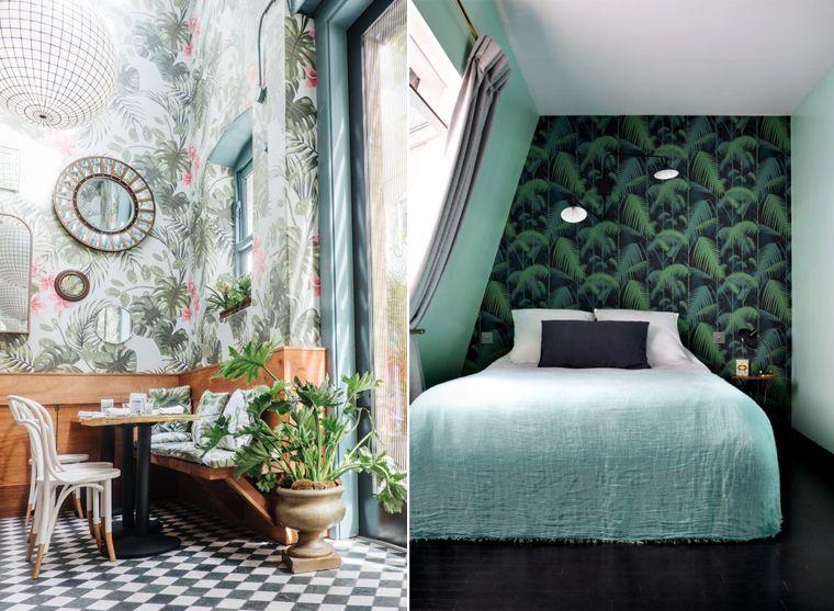 inspiration tapisserie d coration tropicale avec ces tapisseries chambre et restaurant. Black Bedroom Furniture Sets. Home Design Ideas