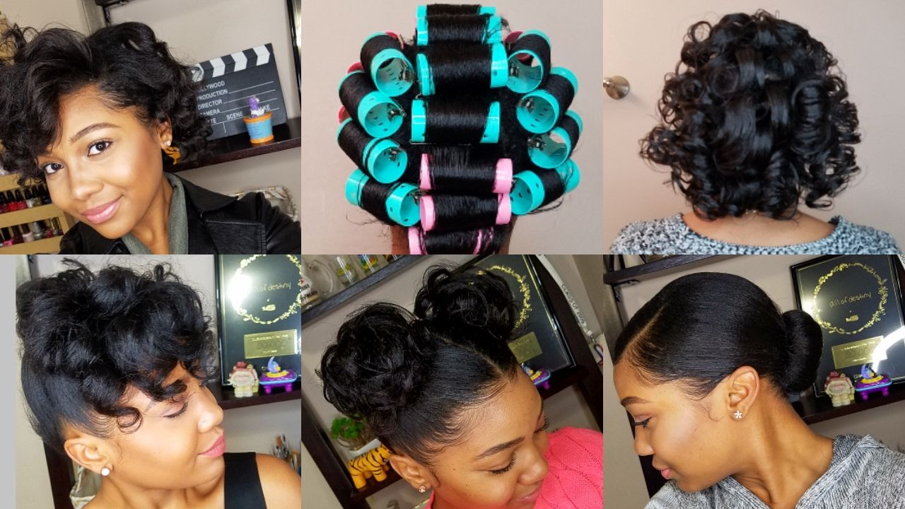 How To Roller Set Hair Roller Setting Tutorial 2017 Relaxed Hair Roller Set Natural Hair Roller Set Hairstyles Relaxed Hair