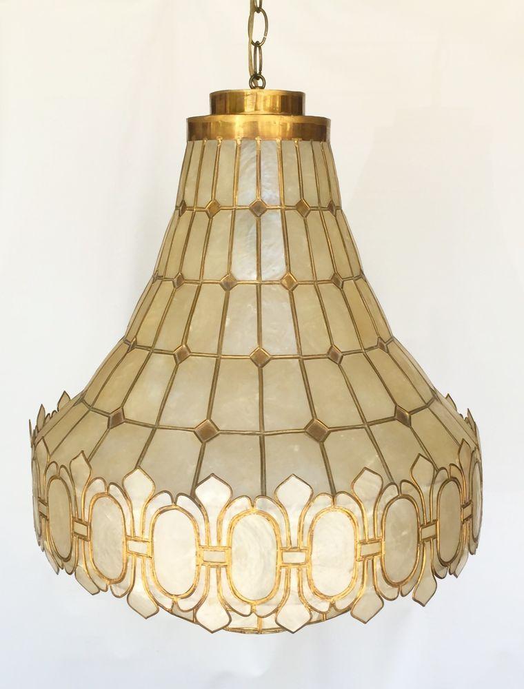 Vintage Capiz Lamp Mid Century 1950s From Philippine Beautiful And Rare Lamp Capiz Vintage