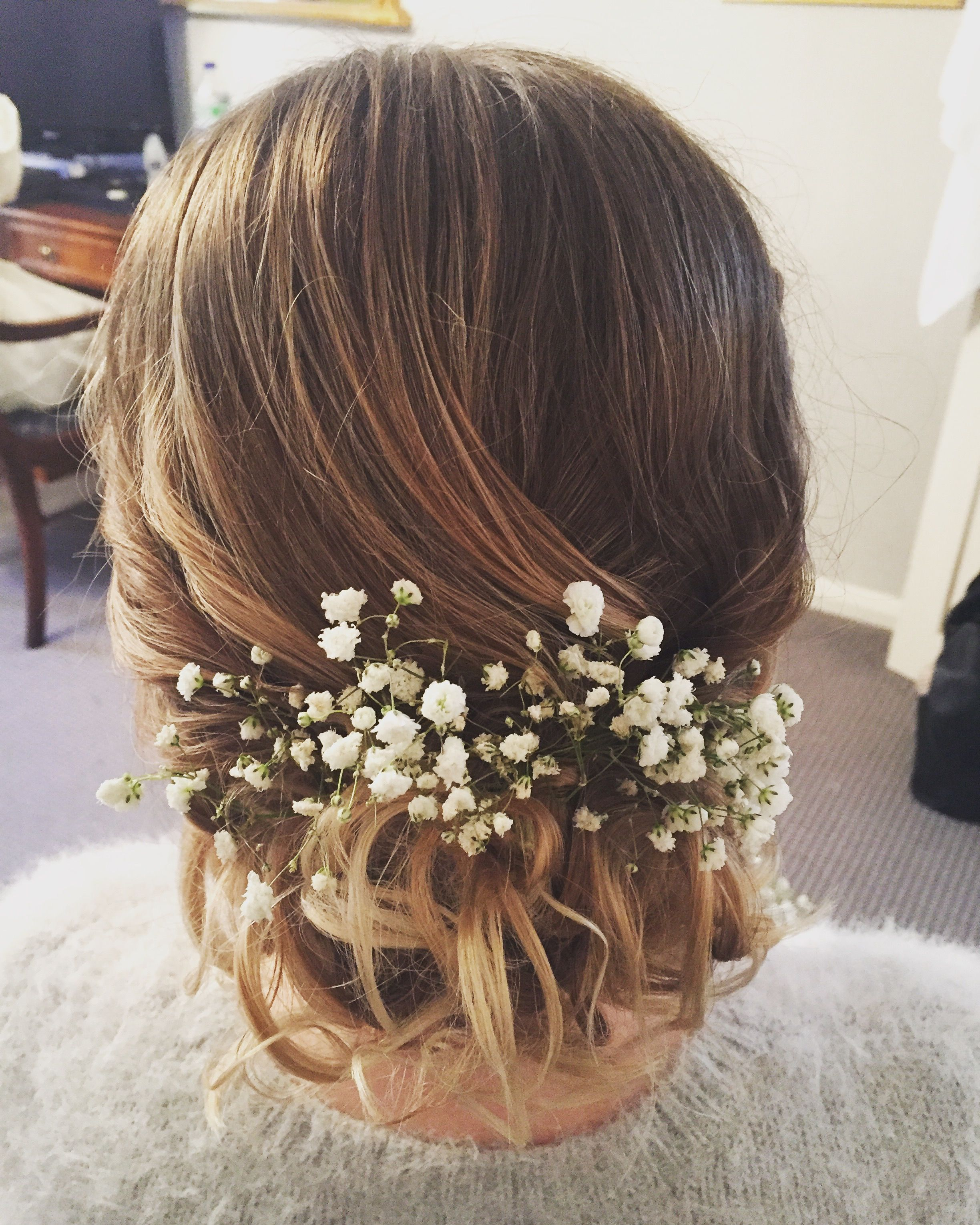 Bridesmaid Messy Bun With Gypsophila Country Wedding Hairstyles