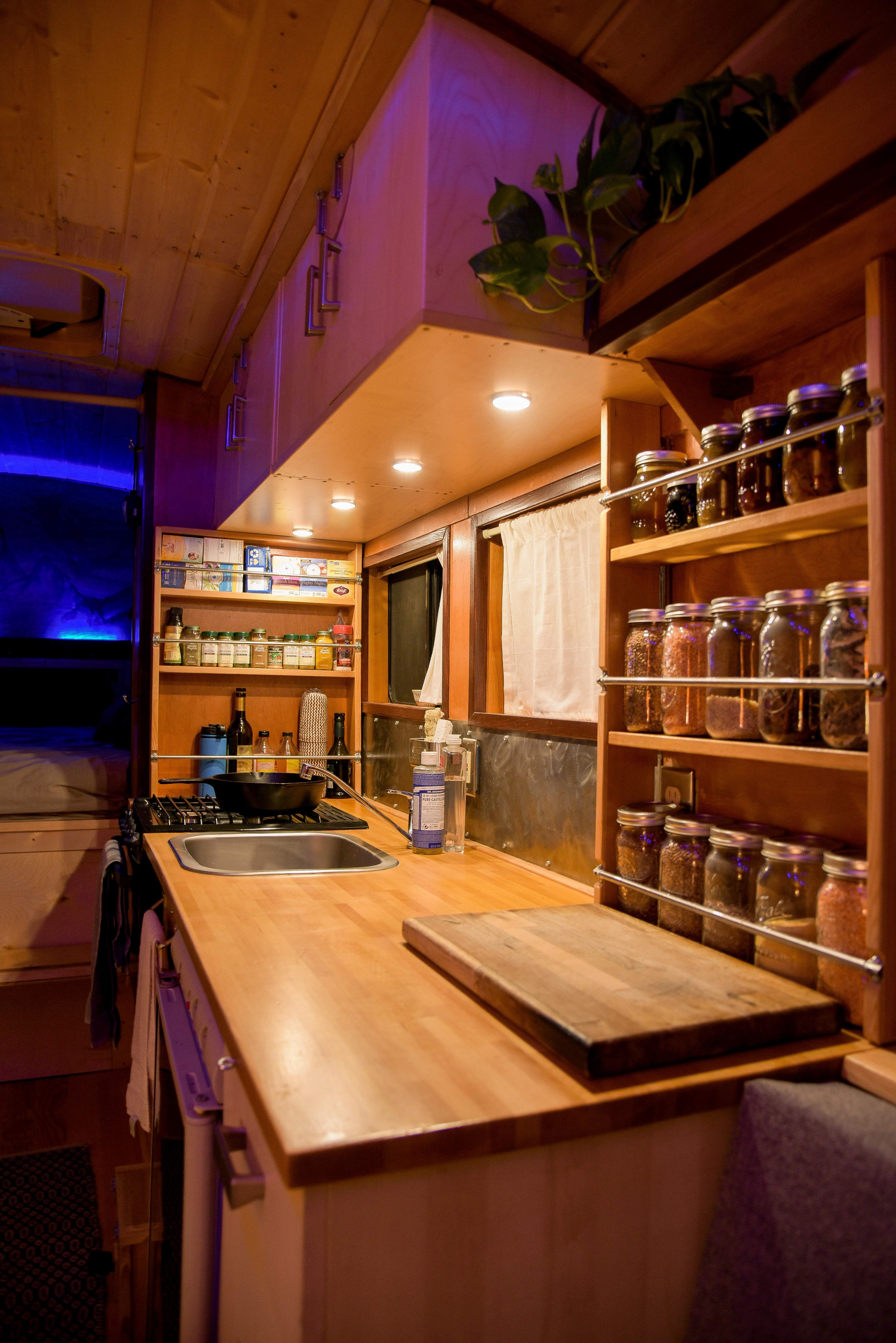 School Bus Tiny House Conversion Kitchen, Skoolie, Buslife