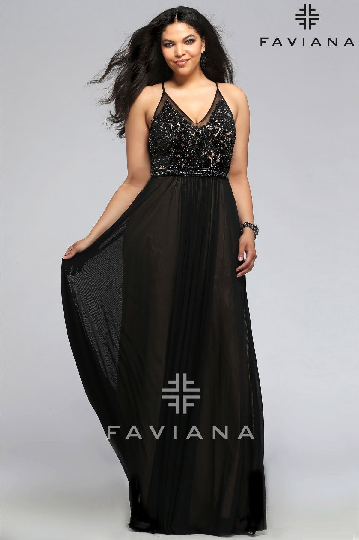 b7694b15cd7 Faviana Mesh V-Neck With Lace And Beading Detail - Homecoming Dresses