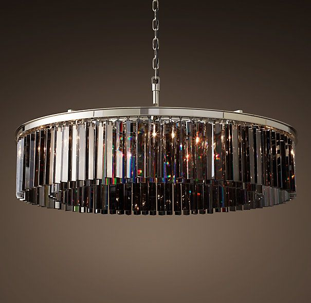 Rhys smoke glass prism 44 round chandelier polished nickel rhys smoke glass prism 44 round chandelier polished nickel mozeypictures Choice Image