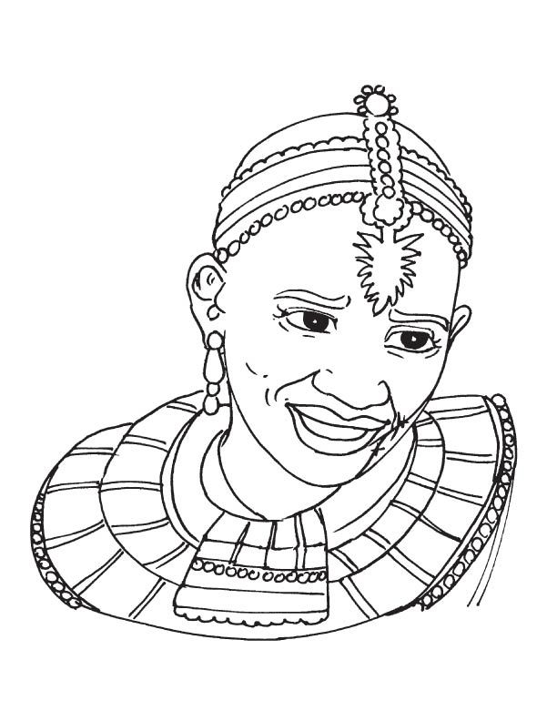 Icolor Africa African Tribal Woman 612x792 Coloring Pages