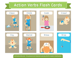 Action Verbs Flash Cards Printable Flash Cards Free Printable Flash Cards Flashcards