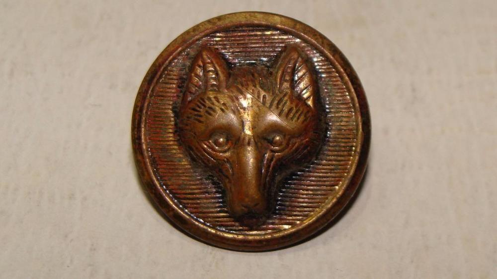 Antique Brass Wolf Head Button, c. 1900