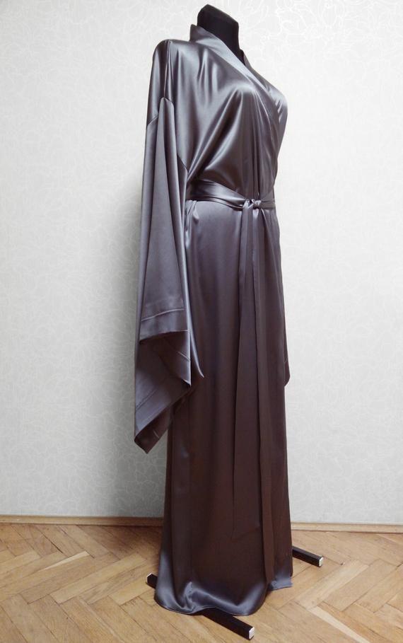 6a66bff7e76e Silk Robe Silk kimono robe Bridal robe long silk robe