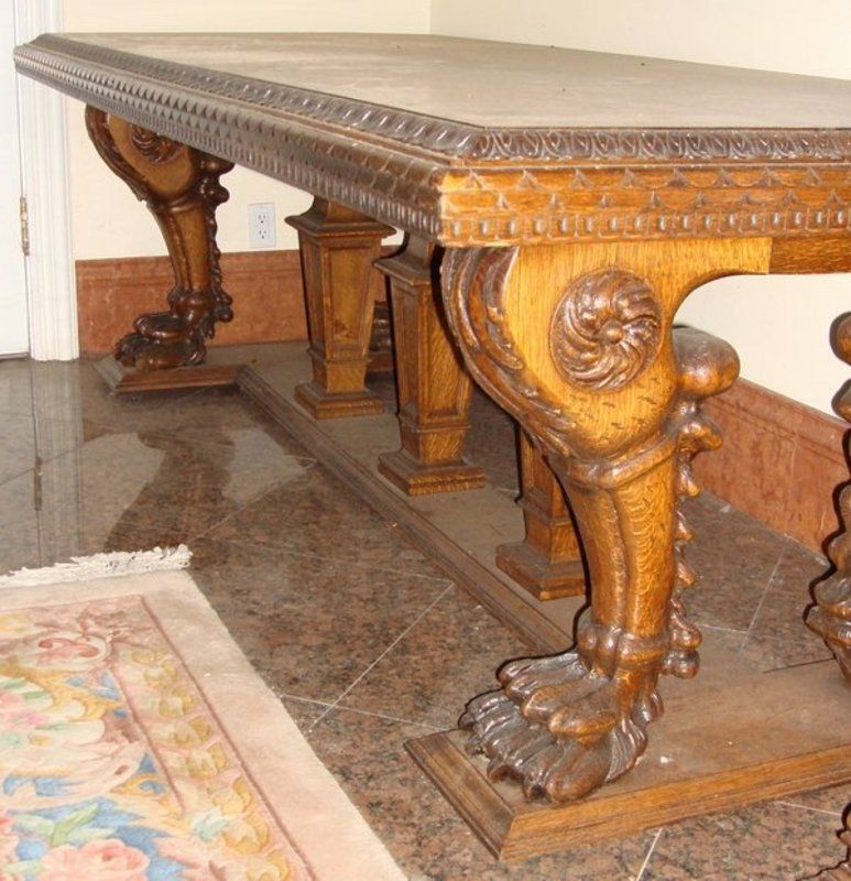 Antique Victorian Dining Table Carved Lion Oak C