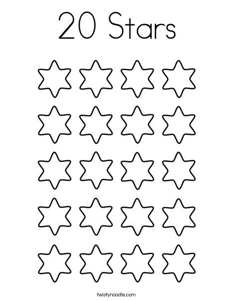 20 Stars Coloring Page Star Coloring Pages Kids Math Worksheets Math For Kids