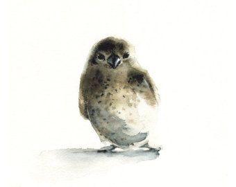 watercolor bird- Tiny - bird art, nature, watercolor painting, print