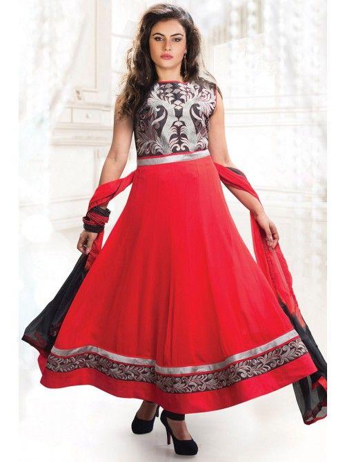 Red Georgette Anarkali Suit #anarkali #anarkalisuits #anarkalidress #cheapanarkali #designeranarkali #heavyanarkalis #partywearanarkalis #anarkalidesigns #buyanarkali