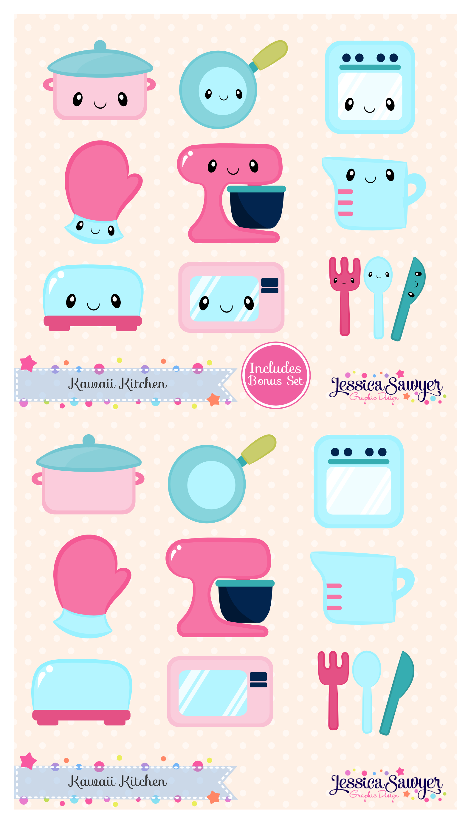 instant download - kawaii kitchen clipart and vectors for personal