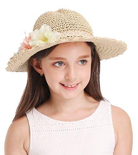 SimpliKids Girls Summer Straw Sun Hat