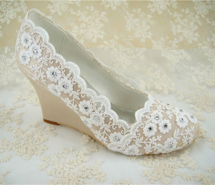 Vintage Champagne Wedge Bridal Shoes Crystal Lace Satin