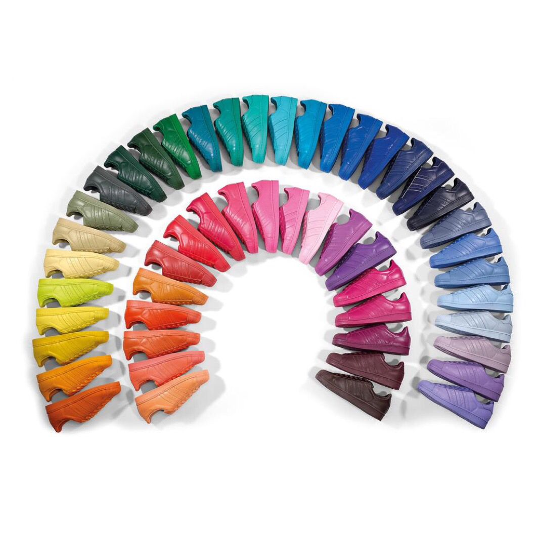 Adidas sneakers in 50 Colors, by Pharell Wiliams