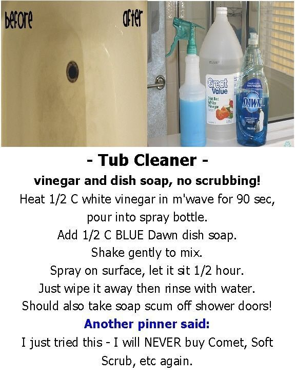 Tub Cleaner Vinegar And Dish Soap No Scrubbing By Mari Household Cleaning Tips Tub Cleaner Diy Home Cleaning