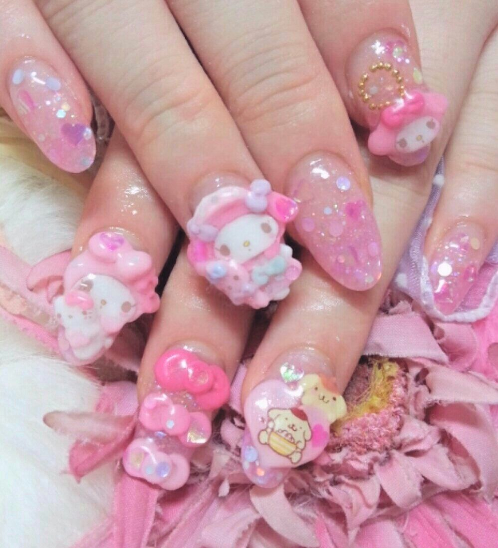 Kawaii Nail Art My Melody Kawaii Nail Art Kawaii Nails Pastel Goth Nails